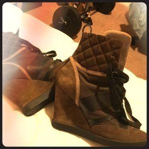 Hunter green w/ black stripes Chloe heel boots